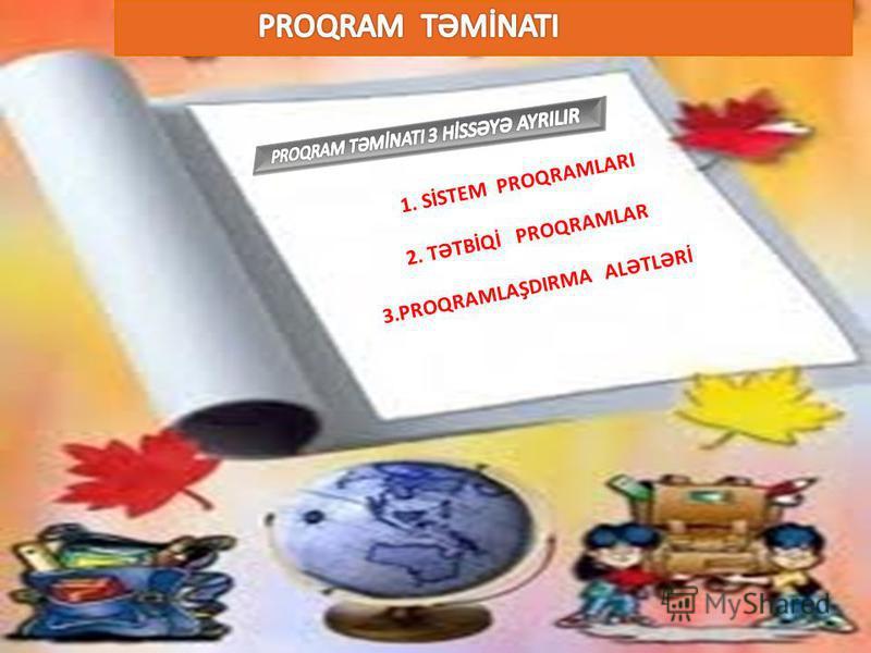 1. SİSTEM PROQRAMLARI 2. TƏTBİQİ PROQRAMLAR 3.PROQRAMLAŞDIRMA ALƏTLƏRİ