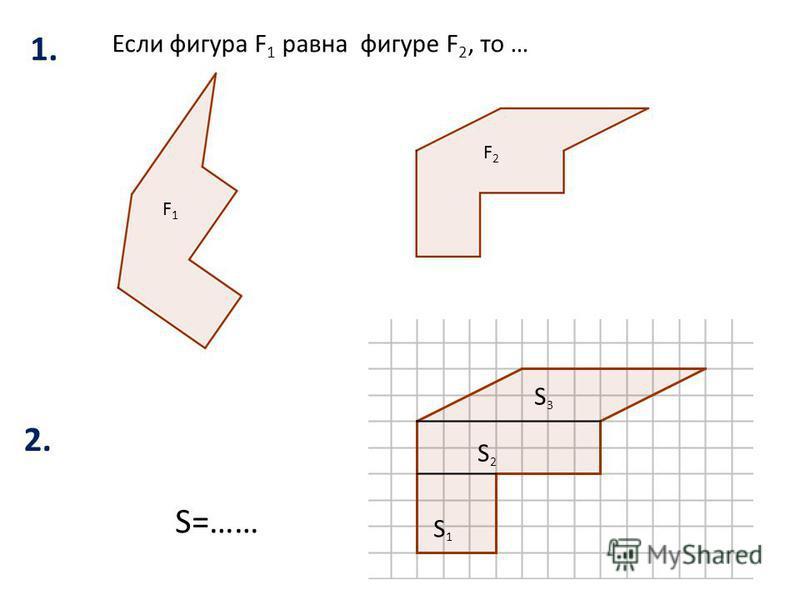 Если фигура F 1 равна фигуре F 2, то … F1F1 F2F2 S=…… S1S1 S2S2 S3S3 1.1. 2.