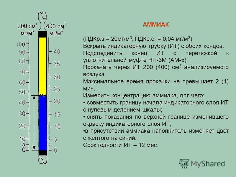 АММИАК (ПДКр.з.= 20 мг/м 3 ; ПДКс.с. = 0,04 мг/м 3 ) Вскрыть индикаторную трубку (ИТ) с обоих концов. Подсоединить конец ИТ с перетяжкой к уплотнительной муфте НП-3М (АМ-5). Прокачать через ИТ 200 (400) см 3 анализируемого воздуха. Максимальное время