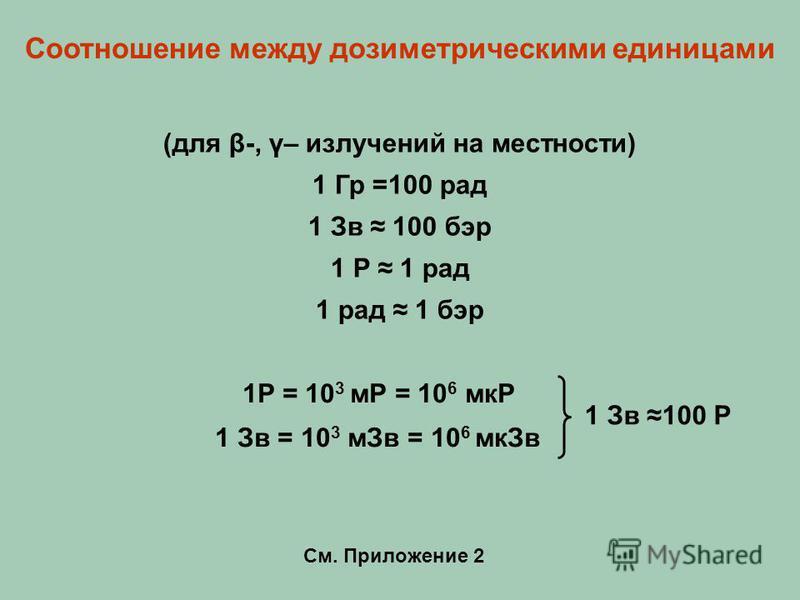 1Р = 10 3 мР = 10 6 мкР 1 Зв = 10 3 м Зв = 10 6 мк Зв 1 Зв 100 Р См. Приложение 2 Соотношение между дозиметрическими единицами (для β-, γ– излучений на местности) 1 Гр =100 рад 1 Зв 100 бэр 1 Р 1 рад 1 рад 1 бэр
