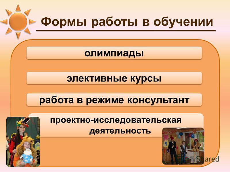 Формы работы в обучении элективные курсы работа в режиме консультант проектно-исследовательская деятельность олимпиады