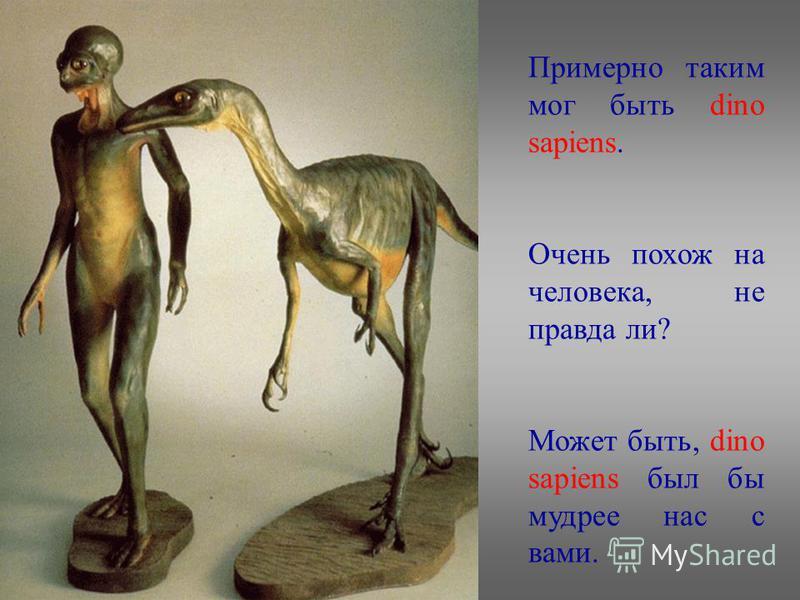 Примерно таким мог быть dino sapiens. Очень похож на человека, не правда ли? Может быть, dino sapiens был бы мудрее нас с вами.
