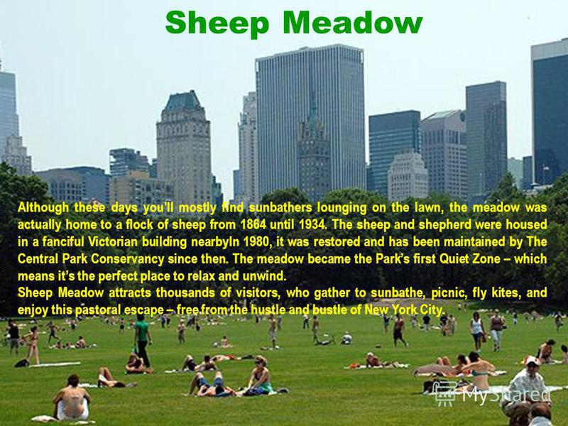 Sheep Meadow Although these days youll mostly find sunbathers lounging on the lawn, the meadow was actually home to a flock of sheep from 1864 until 1934. The sheep and shepherd were housed in a fanciful Victorian building nearbyIn 1980, it was resto