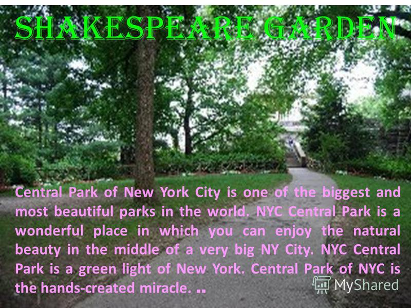 Central Park of New York City is one of the biggest and most beautiful parks in the world. NYC Central Park is a wonderful place in which you can enjoy the natural beauty in the middle of a very big NY City. NYC Central Park is a green light of New Y