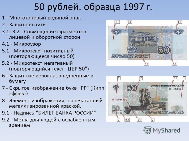50 рублей. образца 1997 г. 1 - Многотоновый водяной знак 2 - Защитная нить 3.1- 3.2 - Совмещение фрагментов лицевой и оборотной сторон 4.1 - Микроузор 5.1 - Микротекст позитивный (повторяющееся число 50) 5.2 - Микротекст негативный (повторяющийся тек