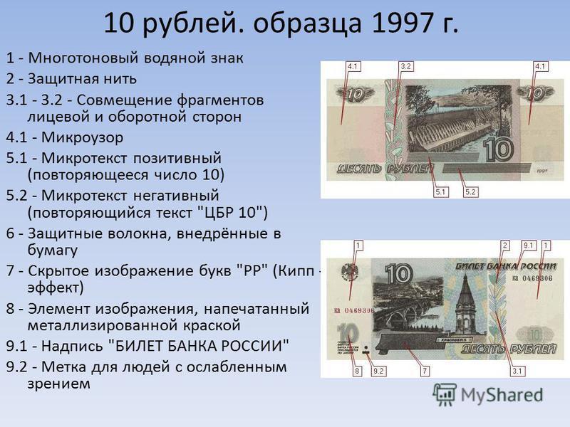 10 рублей. образца 1997 г. 1 - Многотоновый водяной знак 2 - Защитная нить 3.1 - 3.2 - Совмещение фрагментов лицевой и оборотной сторон 4.1 - Микроузор 5.1 - Микротекст позитивный (повторяющееся число 10) 5.2 - Микротекст негативный (повторяющийся те