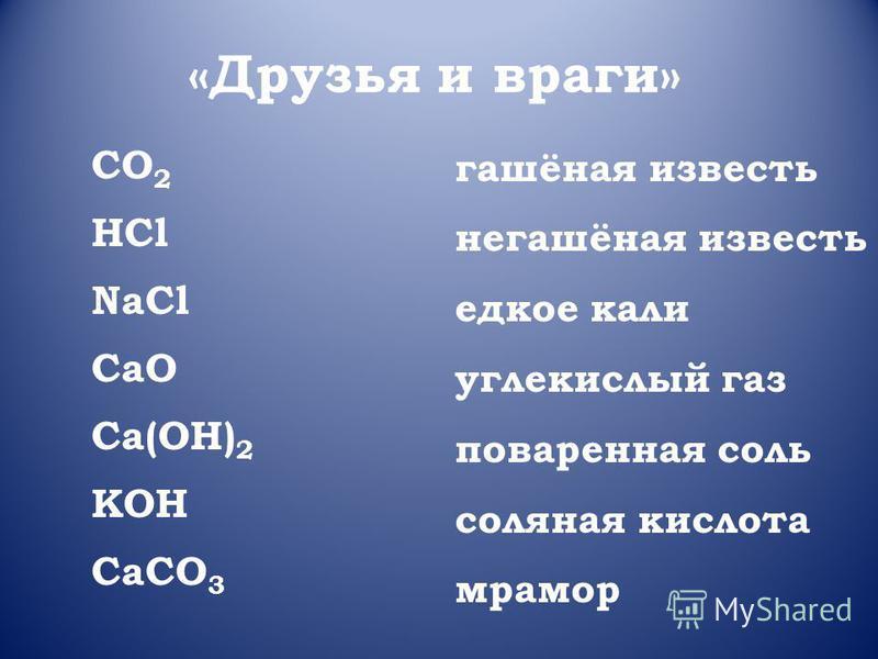 «Друзья и враги» CO 2 HCl NaCl CaO Ca(OH) 2 KOH CaCO 3 гашёная известь негашёная известь едкое кали углекислый газ поваренная соль соляная кислота мрамор