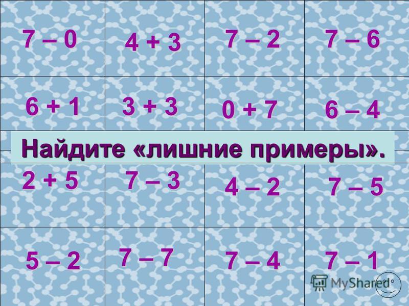 2 + 3 5 + 0 6 – 1 6 – 3 4 + 1 6 – 6 6 – 4 10 + 1 5 – 2 5 – 3 6 – 5 5 + 1 5 – 1 4 + 2 6 – 2 5 – 4 5 – 0 5 – 5 3 + 36 – 0 11 – 1 6 + 0 11 – 10 Составьте обратные примеры