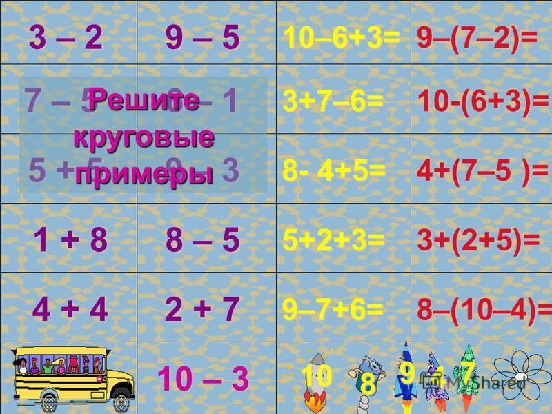 10 – 1= 10 – 5= 10 – 9= 10 – 6= 10 – 8= 0 + 10= 7 + 3 = 4 + 6= 10 – 7= 10 – 2= 5 + 5 = 8 + 2 = 10– 4= 10 – 3= 1 + 9 = 10 2 1 10–10= 10 8 4 10 3 6 10 10 0 5 7 10 9