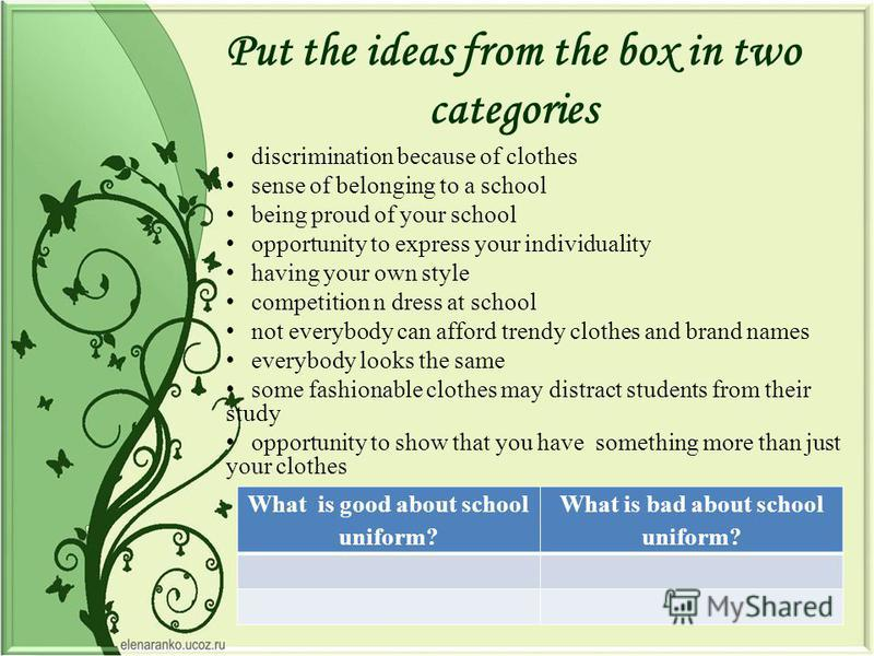 Put the ideas from the box in two categories discrimination because of clothes sense of belonging to a school being proud of your school opportunity to express your individuality having your own style competition n dress at school not everybody can a
