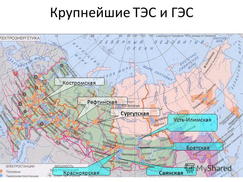 Крупнейшие ТЭС и ГЭС Костромская Сургутская Рефтинская Саянская Красноярская Братская Усть-Илимская