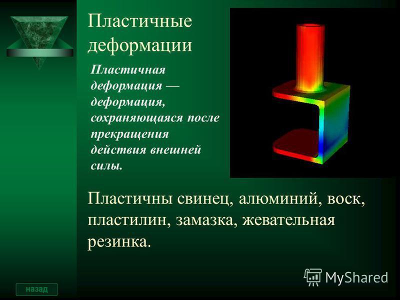 Примеры упругих деформаций Способностью к упругой деформации обладает, например, спиральная пружина. Мерой деформации пружины может служить ее удлинение, то есть разность длин пружины, возникающая в результате внешнего воздействия. ΔlΔl Упруго деформ