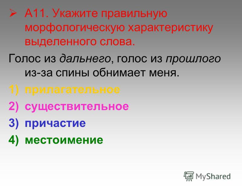 А11. Укажите правильную морфологическую характеристику выделенного слова. Голос из дальнего, голос из прошлого из-за спины обнимает меня. 1)прилагательное 2)существительное 3)причастие 4)местоимение