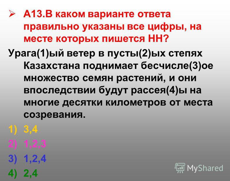 А13. В каком варианте ответа правильно указаны все цифры, на месте которых пишется НН? Урага(1)ый ветер в пусты(2)ых степях Казахстана поднимает бесчисле(3)ое множество семян растений, и они впоследствии будут рассея(4)ы на многие десятки километров