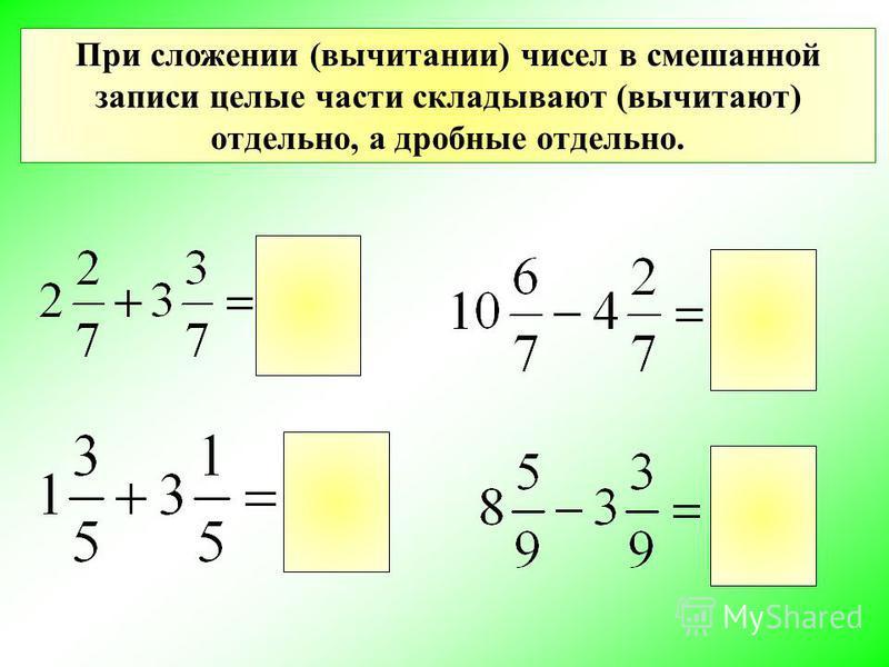 При сложении (вычитании) чисел в смешанной записи целые части складывают (вычитают) отдельно, а дробные отдельно.