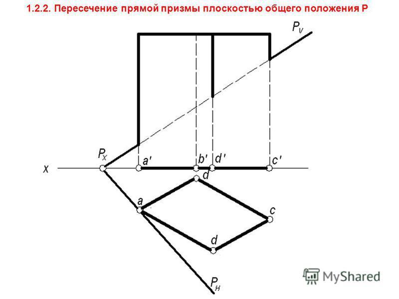 1.2.2. Пересечение прямой призмы плоскостью общего положения Р