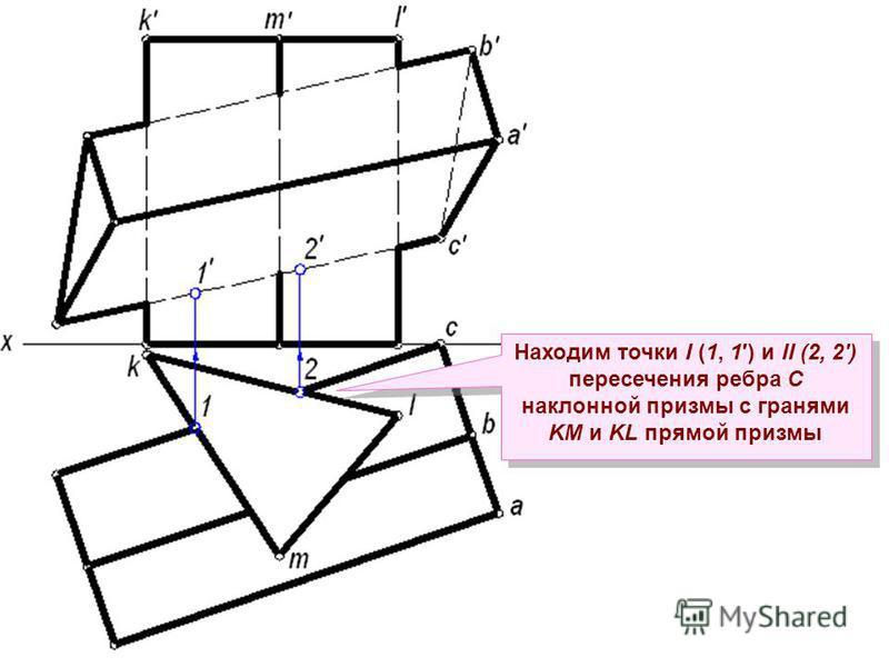 Находим точки I (1, 1) и II (2, 2) пересечения ребра С наклонной призмы с гранями KM и KL прямой призмы