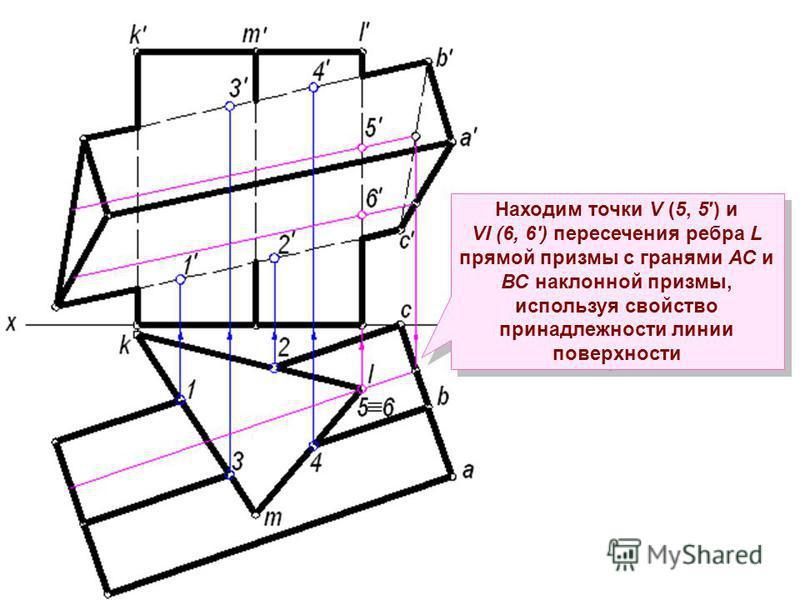 Находим точки V (5, 5) и VI (6, 6) пересечения ребра L прямой призмы с гранями АС и ВС наклонной призмы, используя свойство принадлежности линии поверхности Находим точки V (5, 5) и VI (6, 6) пересечения ребра L прямой призмы с гранями АС и ВС наклон
