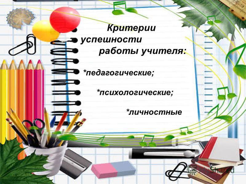 Критерии успешности работы учителя: *педагогические; *психологические; *личностные