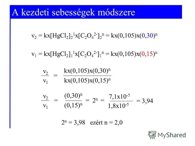 A kezdeti sebességek módszere v 2 = kx[HgCl 2 ] 2 1 x[C 2 O 4 2- ] 2 n = kx(0,105)x(0,30) n v 1 = kx[HgCl 2 ] 1 1 x[C 2 O 4 2- ] 1 n = kx(0,105)x(0,15) n v2v2 v1v1 kx(0,105)x(0,30) n kx(0,105)x(0,15) n = 7,1x10 -5 1,8x10 -5 = 3,94 v2v2 v1v1 (0,30) n