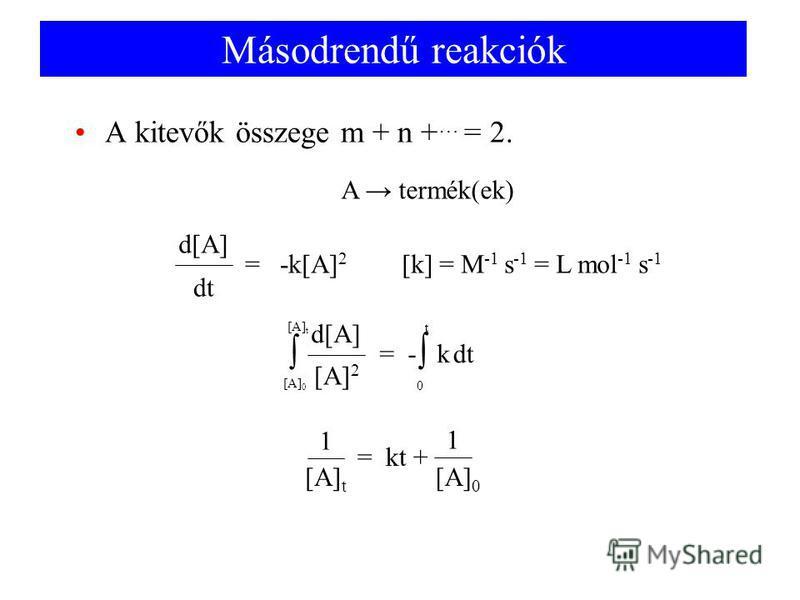 Másodrendű reakciók A kitevők összege m + n + … = 2. A termék(ek) dt= - k d[A] [A] 2 [A] 0 [A] t 0 t = kt + 1 [A] 0 [A] t 1 dt = -k[A] 2 d[A] [k] = M -1 s -1 = L mol -1 s -1