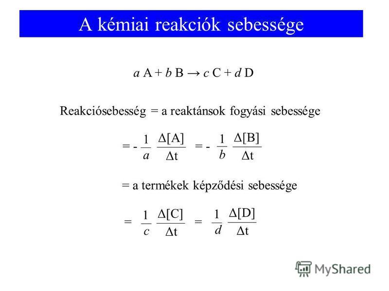 A kémiai reakciók sebessége a A + b B c C + d D Reakciósebesség = a reaktánsok fogyási sebessége = Δ[C] ΔtΔt 1 c = Δ[D] ΔtΔt 1 d Δ[A] ΔtΔt 1 a = - Δ[B] ΔtΔt 1 b = - = a termékek képződési sebessége