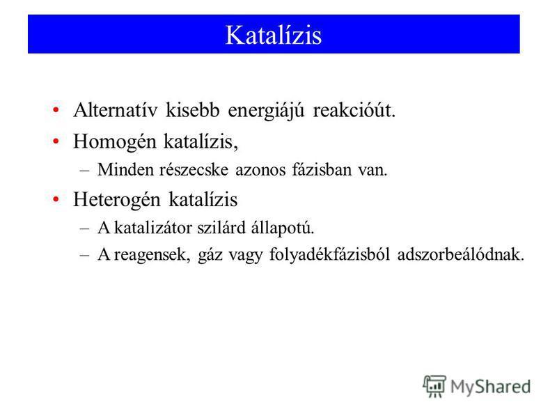 Katalízis Alternatív kisebb energiájú reakcióút. Homogén katalízis, –Minden részecske azonos fázisban van. Heterogén katalízis –A katalizátor szilárd állapotú. –A reagensek, gáz vagy folyadékfázisból adszorbeálódnak.