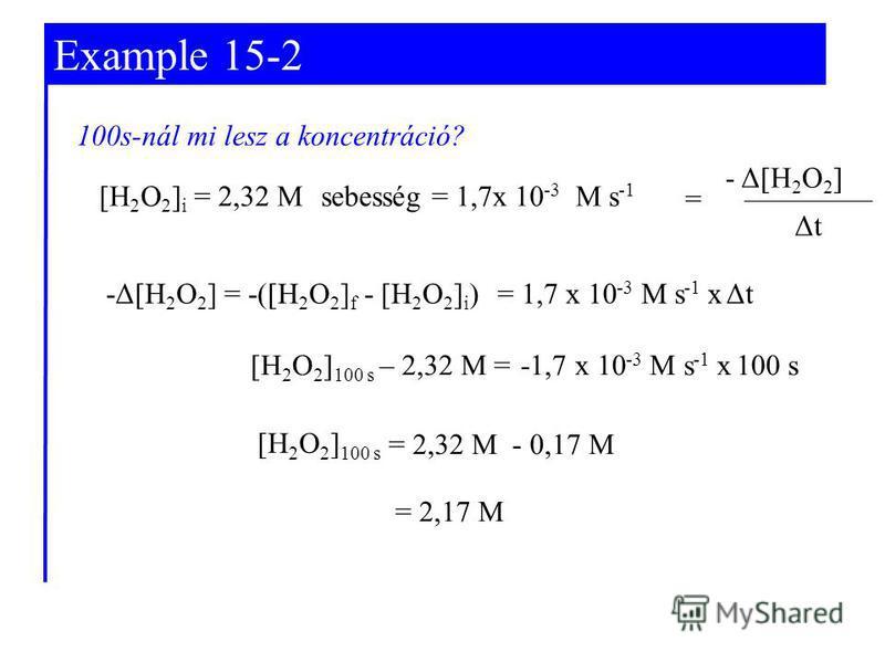 Example 15-2 -Δ[H 2 O 2 ] = -([H 2 O 2 ] f - [H 2 O 2 ] i )= 1,7 x 10 -3 M s -1 x Δt sebesség = 1,7x 10 -3 M s -1 ΔtΔt = - Δ[H 2 O 2 ] [H 2 O 2 ] 100 s – 2,32 M =-1,7 x 10 -3 M s -1 x 100 s = 2,17 M = 2,32 M - 0,17 M [H 2 O 2 ] 100 s 100s-nál mi lesz