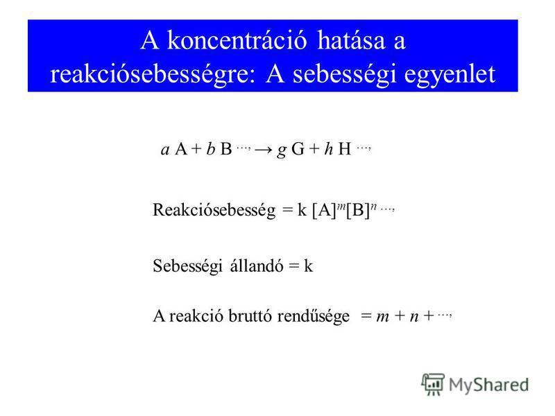 A koncentráció hatása a reakciósebességre: A sebességi egyenlet a A + b B …, g G + h H …, Reakciósebesség = k [A] m [B] n …, Sebességi állandó = k A reakció bruttó rendűsége = m + n + …,