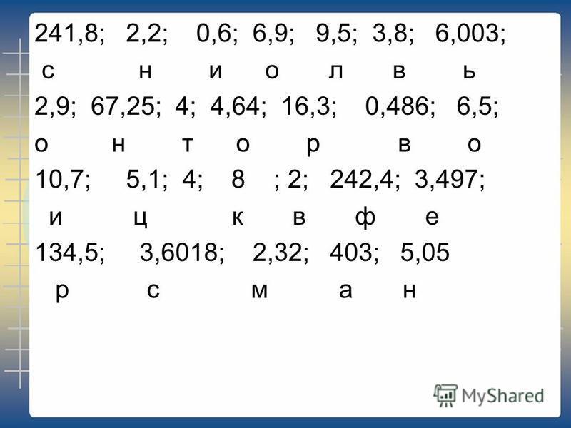 241,8; 2,2; 0,6; 6,9; 9,5; 3,8; 6,003; с н и о л в ь 2,9; 67,25; 4; 4,64; 16,3; 0,486; 6,5; о н т о р в о 10,7; 5,1; 4; 8 ; 2; 242,4; 3,497; и ц к в ф е 134,5; 3,6018; 2,32; 403; 5,05 р с м а н