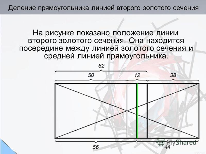 Деление прямоугольника линией второго золотого сечения На рисунке показано положение линии второго золотого сечения. Она находится посередине между линией золотого сечения и средней линией прямоугольника.