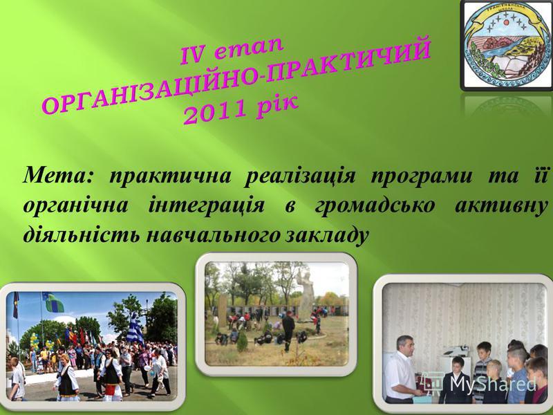 14 Мета: практична реалізація програми та її органічна інтеграція в громадсько активну діяльність навчального закладу