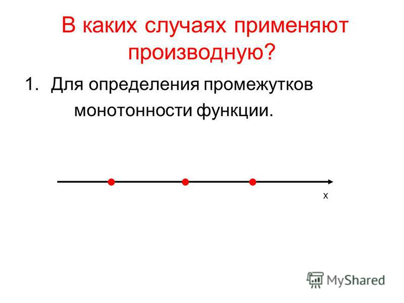 В каких случаях применяют производную? 1. Для определения промежутков монотонности функции. х