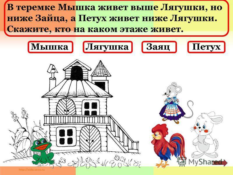 В теремке Мышка живет выше Лягушки, но ниже Зайца, а Петух живет ниже Лягушки. Скажите, кто на каком этаже живет. Мышка ЛягушкаЗаяц Петух