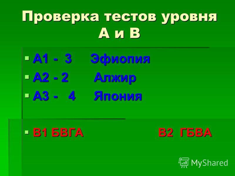 Проверка тестов уровня А и В А1 - 3 Эфиопия А1 - 3 Эфиопия А2 - 2 Алжир А2 - 2 Алжир А3 - 4 Япония А3 - 4 Япония В1 БВГА В2 ГБВА В1 БВГА В2 ГБВА