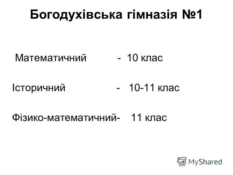 Богодухівська гімназія 1 Математичний - 10 клас Історичний - 10-11 клас Фізико-математичний- 11 клас