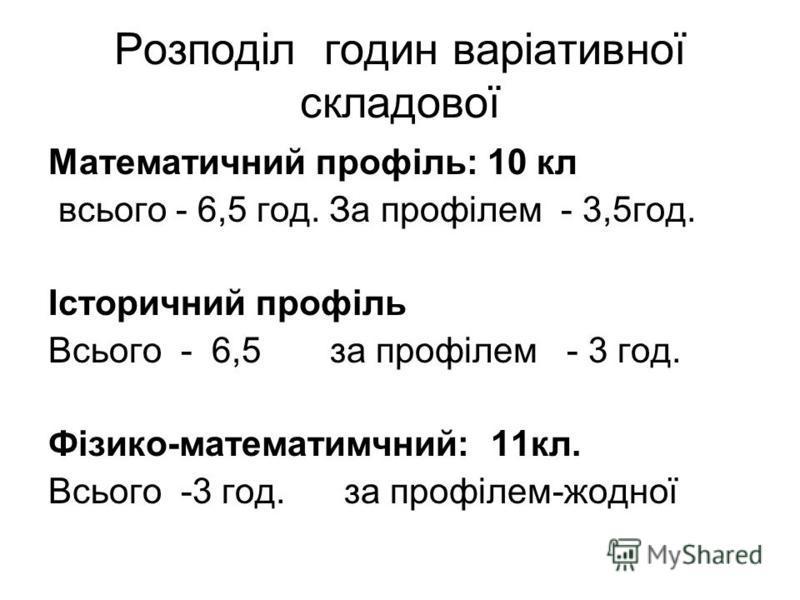Розподіл годин варіативної складової Математичний профіль: 10 кл всього - 6,5 год. За профілем - 3,5год. Історичний профіль Всього - 6,5 за профілем - 3 год. Фізико-математимчний: 11кл. Всього -3 год. за профілем-жодної
