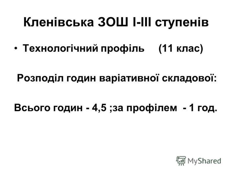 Кленівська ЗОШ І-ІІІ ступенів Технологічний профіль (11 клас) Розподіл годин варіативної складової: Всього годин - 4,5 ;за профілем - 1 год.