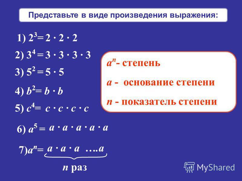 Представьте в виде произведения выражения: 1) 2 3 = 2) 3 4 = 3) 5 2 = 4) b 2 = 5) с 4 = 6) а 5 = 7)а n = 2 · 2 · 2 3 · 3 · 3 · 3 5 · 5 b · b с · с · с · с а · а · а · а · а а · а · а ….а n раз а n - степень a - основание степени n - показатель степен