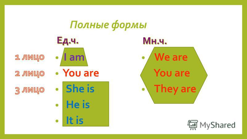 I am You are She is He is It is Полные формы We are You are They are