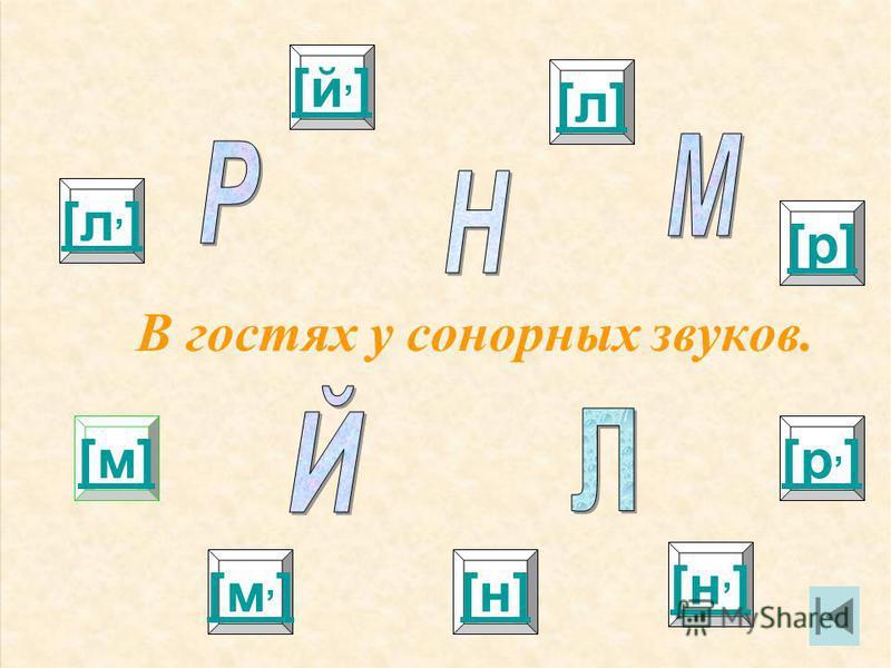 В гостях у сонорных звуков. [л,][л,] [м][м] [й,][й,] [р,][р,] [р][р] [л][л] [м,][м,][н][н] [н,][н,]