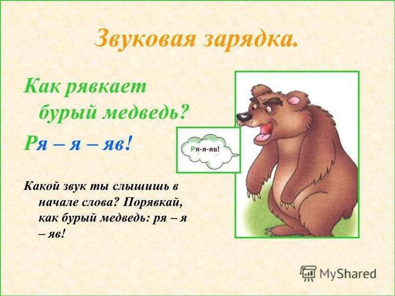 Звуковая зарядка. Как рявкает бурый медведь? Ря – я – яв! Какой звук ты слышишь в начале слова? Порявкай, как бурый медведь: ря – я – яв!