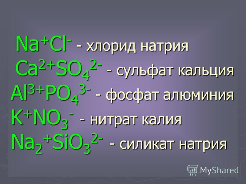 Na + Cl - - хлорид натрия Ca 2+ SO 4 2- - сульфат кальция Al 3+ PO 4 3- - фосфат алюминия K + NO 3 - - нитрат калия Na 2 + SiO 3 2- - силикат натрия Na + Cl - - хлорид натрия Ca 2+ SO 4 2- - сульфат кальция Al 3+ PO 4 3- - фосфат алюминия K + NO 3 -