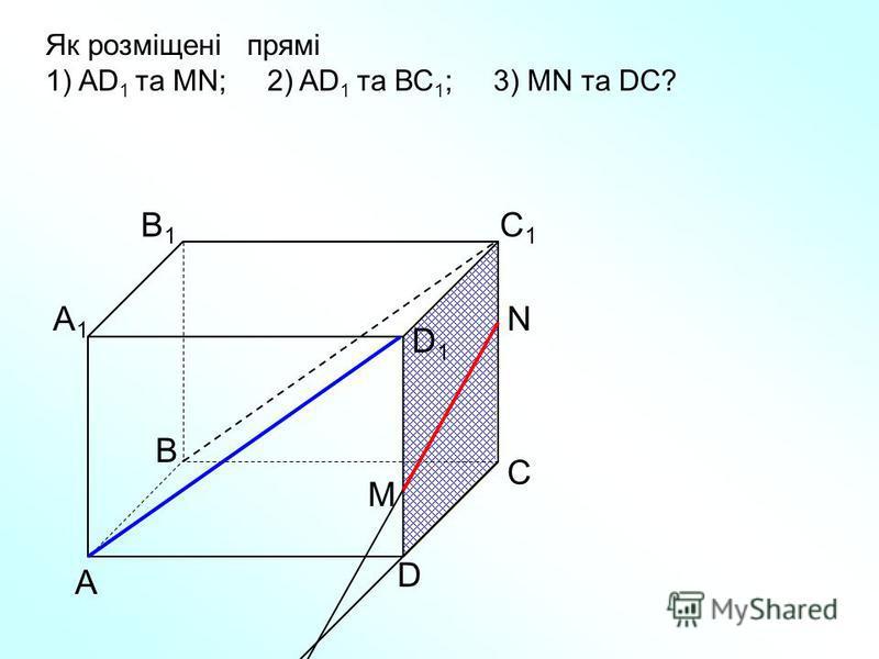 А D С В B1B1 С1С1 D1D1 А1А1 Як розміщені прямі 1) AD 1 та МN; 2) AD 1 та ВС 1 ; 3) МN та DC? N M