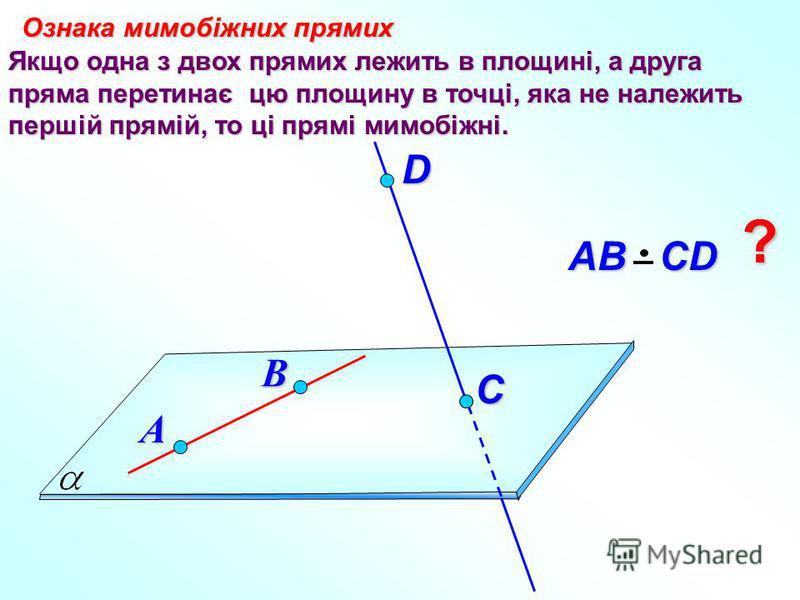 Якщо одна з двох прямих лежить в площині, а друга пряма перетинає цю площину в точці, яка не належить першій прямій, то ці прямі мимобіжні. Ознака мимобіжних прямих D В АВ СD А C ?