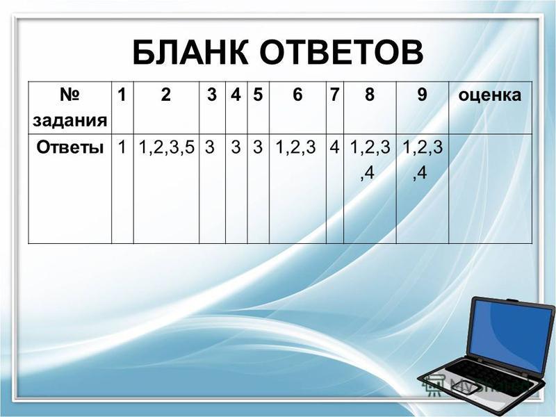 БЛАНК ОТВЕТОВ задания 123456789 оценка Ответы 11,2,3,5 3 3 3 1,2,3 4 1,2,3,4
