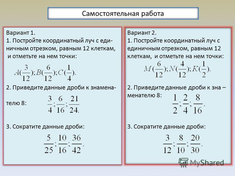 Самостоятельная работа Вариант 1. 1. Постройте координатный луч с единичным отрезком, равным 12 клеткам, и отметьте на нем точки: 2. Приведите данные дроби к знаменателю 8: 3. Сократите данные дроби: Вариант 1. 1. Постройте координатный луч с единичн