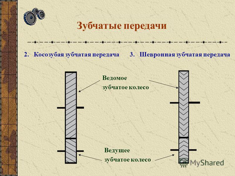 Зубчатые передачи 1. Прямозубая зубчатая передача 54 16 Количества зубьев на зубчатом колесе Зубчатое колесо Иногда зубчатое колесо называют «ШЕСТЕРЁНКОЙ» только потому, что в основном в зацеплении участвуют шесть зубьев. Но правильное техническое на