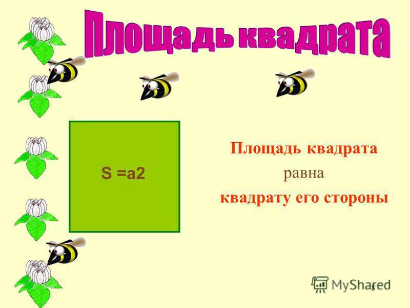 7 S = ab Площадь прямоугольника равна произведению двух его смежных сторон