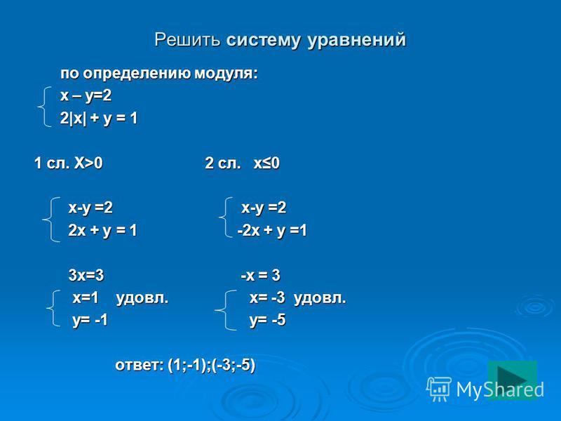 Решить систему уравнений по определению модуля: по определению модуля: х – у=2 х – у=2 2|x| + y = 1 2|x| + y = 1 1 сл. Х>0 2 сл. x0 x-y =2 x-y =2 x-y =2 x-y =2 2x + y = 1 -2x + y =1 2x + y = 1 -2x + y =1 3x=3 -x = 3 3x=3 -x = 3 x=1 удовл. x= -3 удовл